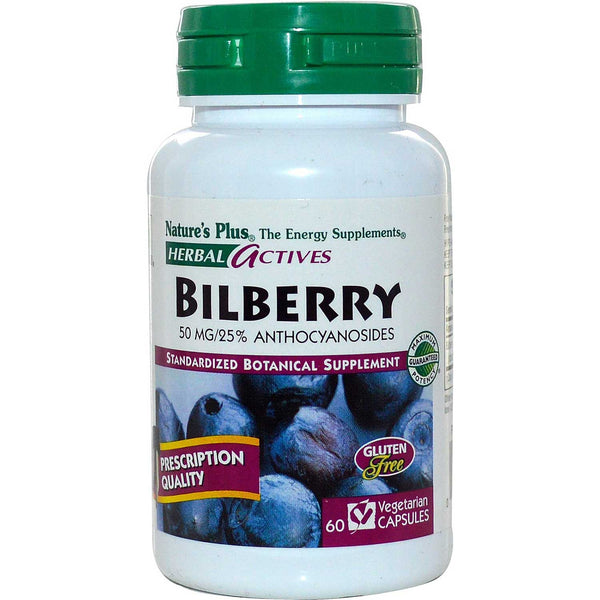 Natures Plus HerbalActives Bilberry 50 mg (Vcaps), 60 caps.