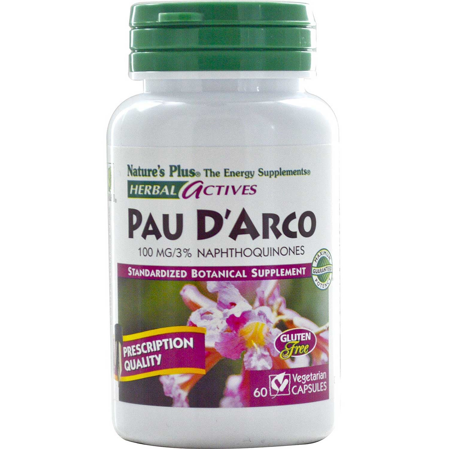 Natures Plus HerbalActives Pau D'Arco 100 mg (Vcaps), 60 caps.-NaturesWisdom