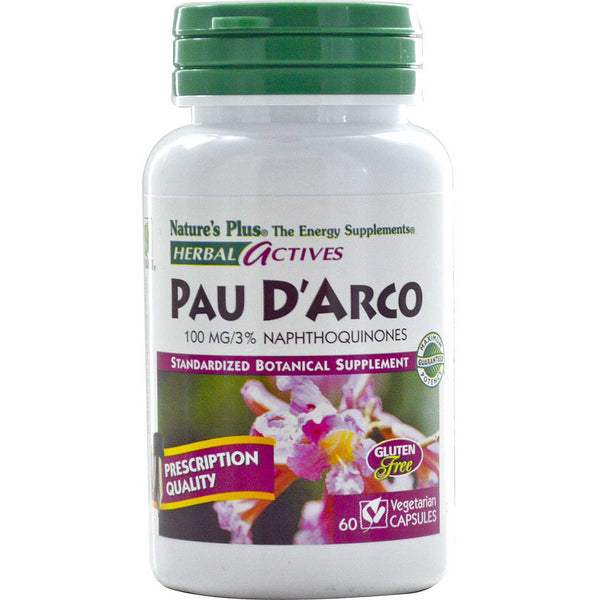 Natures Plus HerbalActives Pau D'Arco 100 mg (Vcaps), 60 caps.