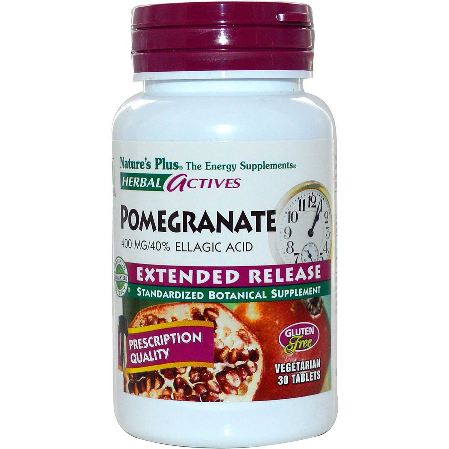 Natures Plus HerbalActives Pomegranate 400 mg w/Activessence (Extended Release), 30 tabs.-NaturesWisdom