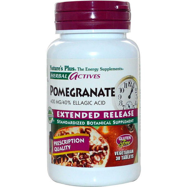 Natures Plus HerbalActives Pomegranate 400 mg w/Activessence (Extended Release), 30 tabs.