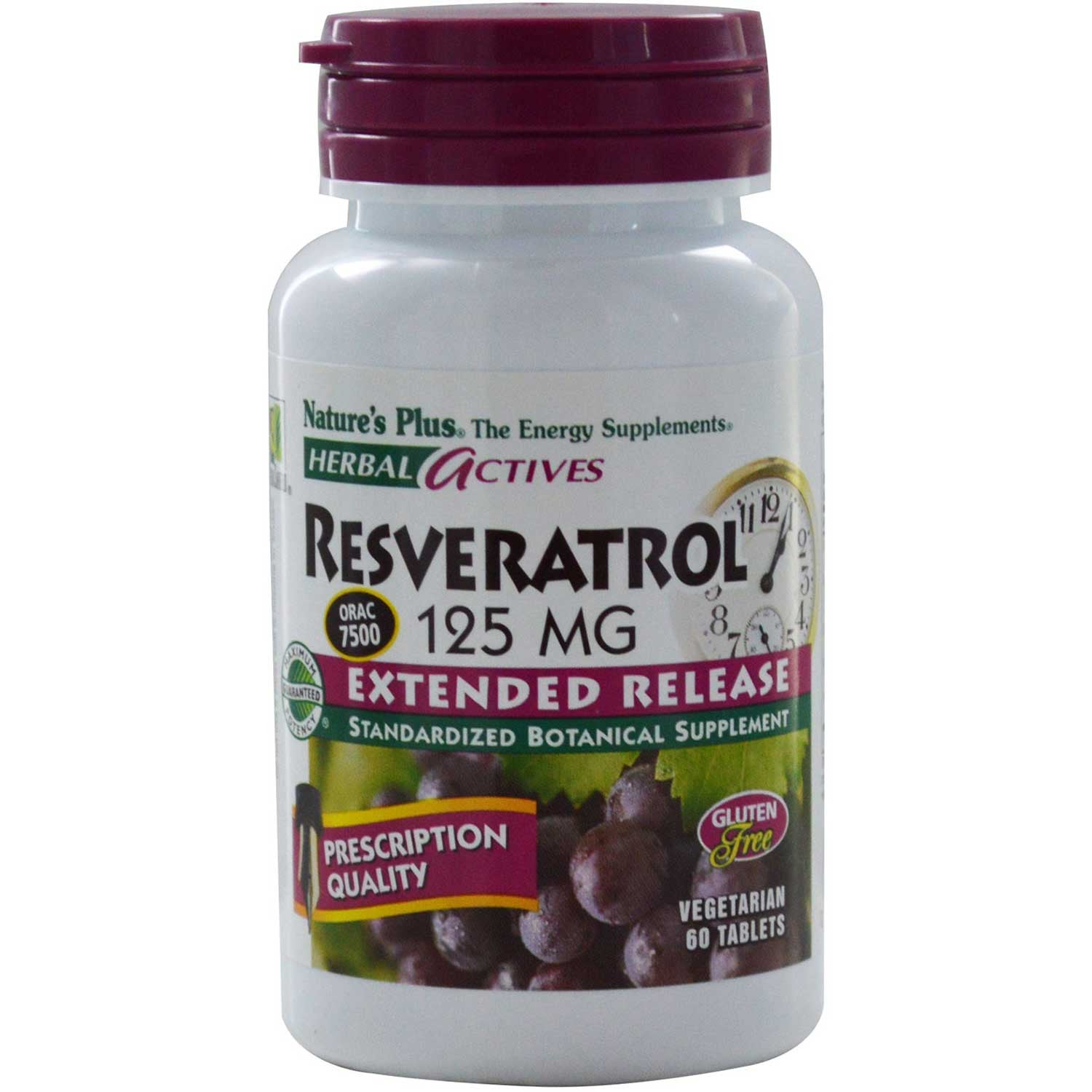 Natures Plus HerbalActives Resveratrol 125 mg (Extended Release), 60 tabs.-NaturesWisdom