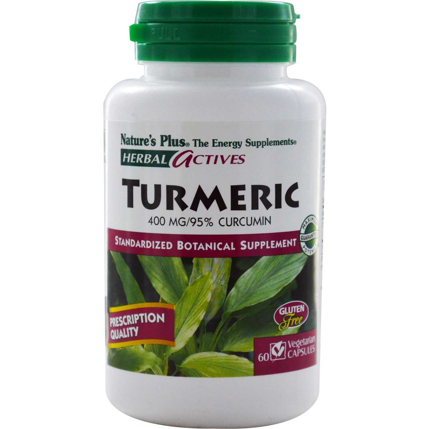 Natures Plus HerbalActives Turmeric 400 mg, 60 caps.-NaturesWisdom