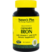 Natures Plus Iron w/Vit C Herbal Formula Chewable, 90 tabs.-NaturesWisdom