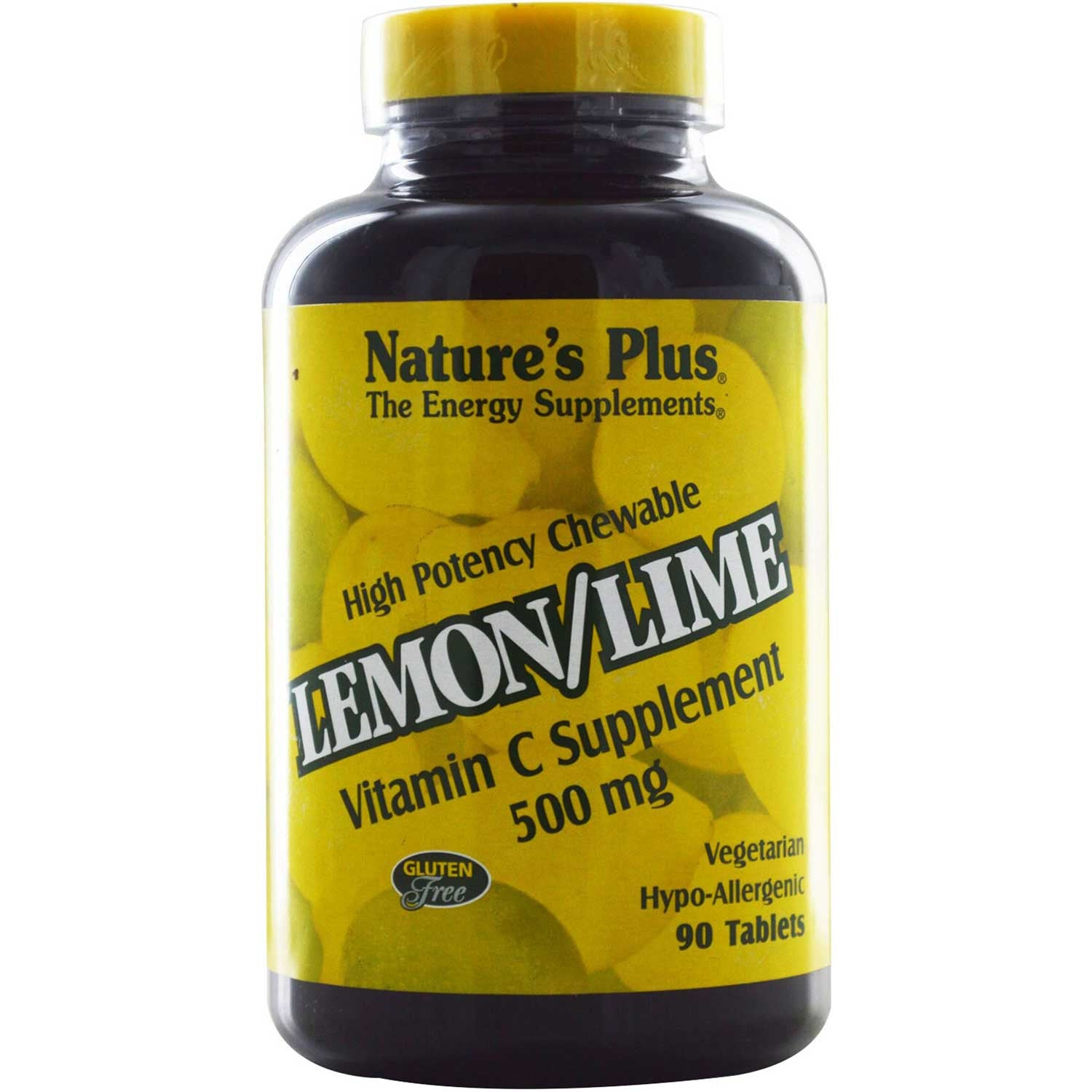 Natures Plus Lemon/Lime Vitamin C 500 mg Chewable, 90 tabs.