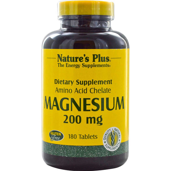 Natures Plus Magnesium 200 mg (Biotron Amino Acid Chelate), 180 tabs.
