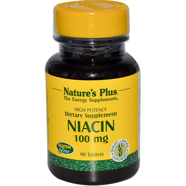 Natures Plus Niacin 100 mg, 90 tabs.
