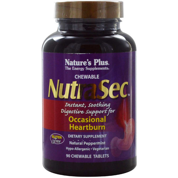Natures Plus NutraSec Chewable Tablets w/Gastro-Block, 90 tabs.