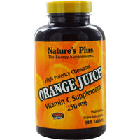 Natures Plus Orange Juice Vitamin C 250 mg Chewable, 180 tabs.