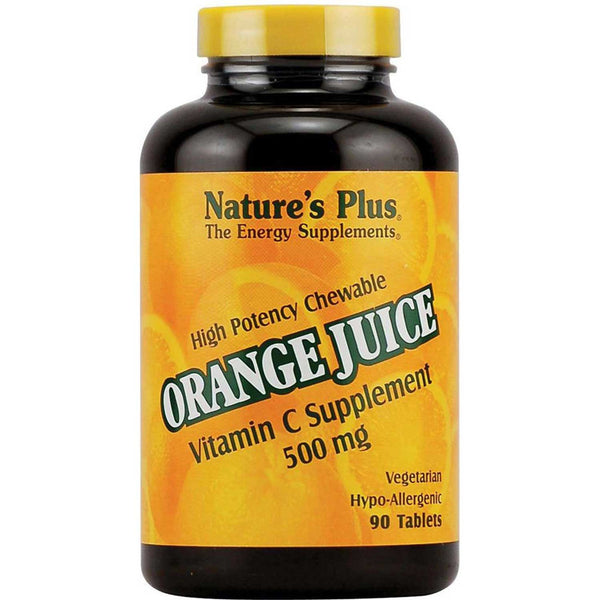 Natures Plus Orange Juice Vitamin C 500 mg Chewable, 90 tabs.