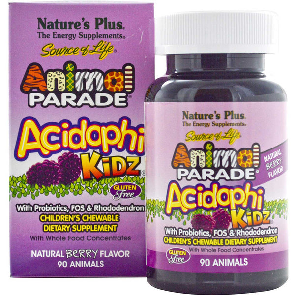 Natures Plus Source of Life Animal Parade Acidophikidz Chewable - Berry, 90 tabs.
