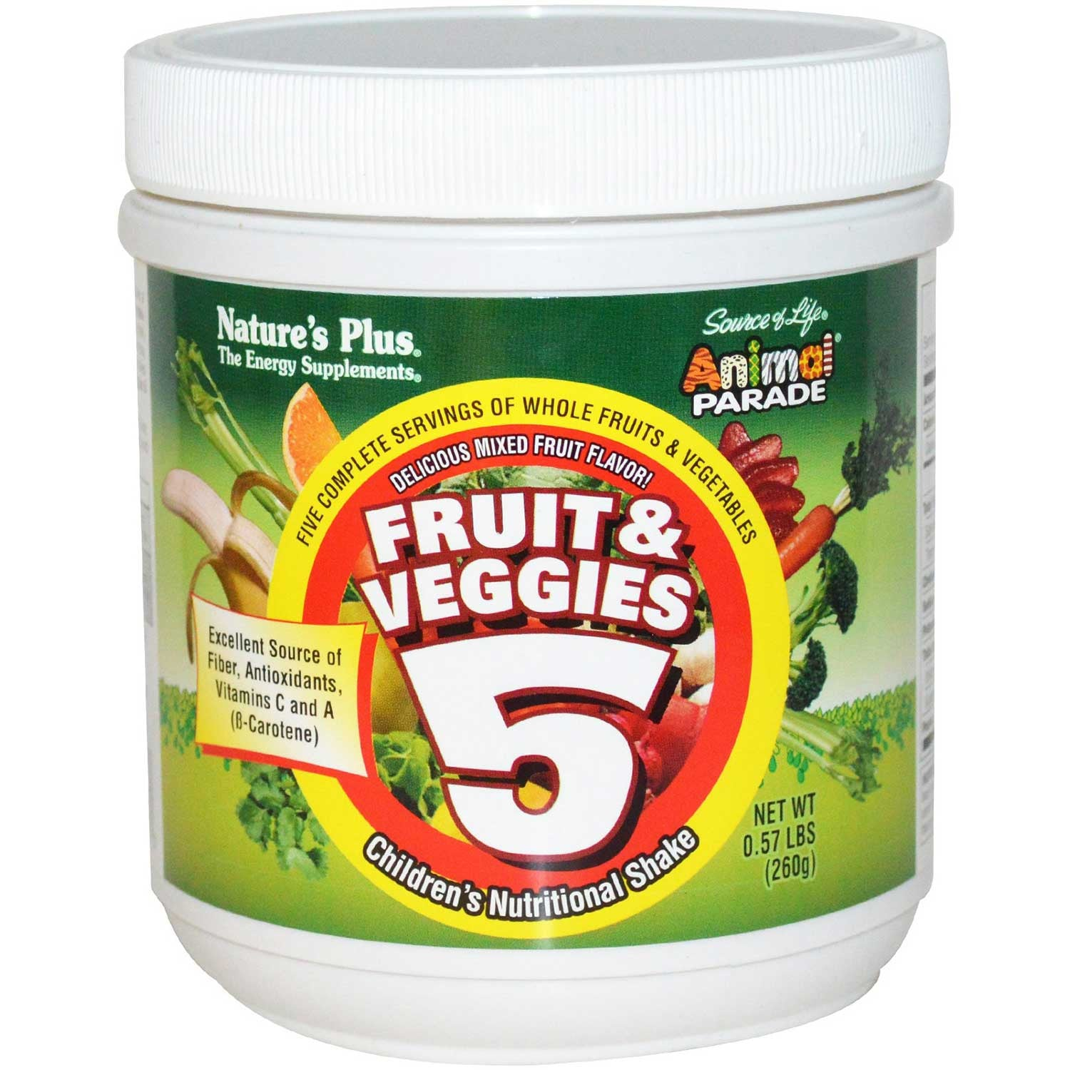 Natures Plus Source of Life Animal Parade Fruit & Veggies 5 Shake, 260 g-NaturesWisdom