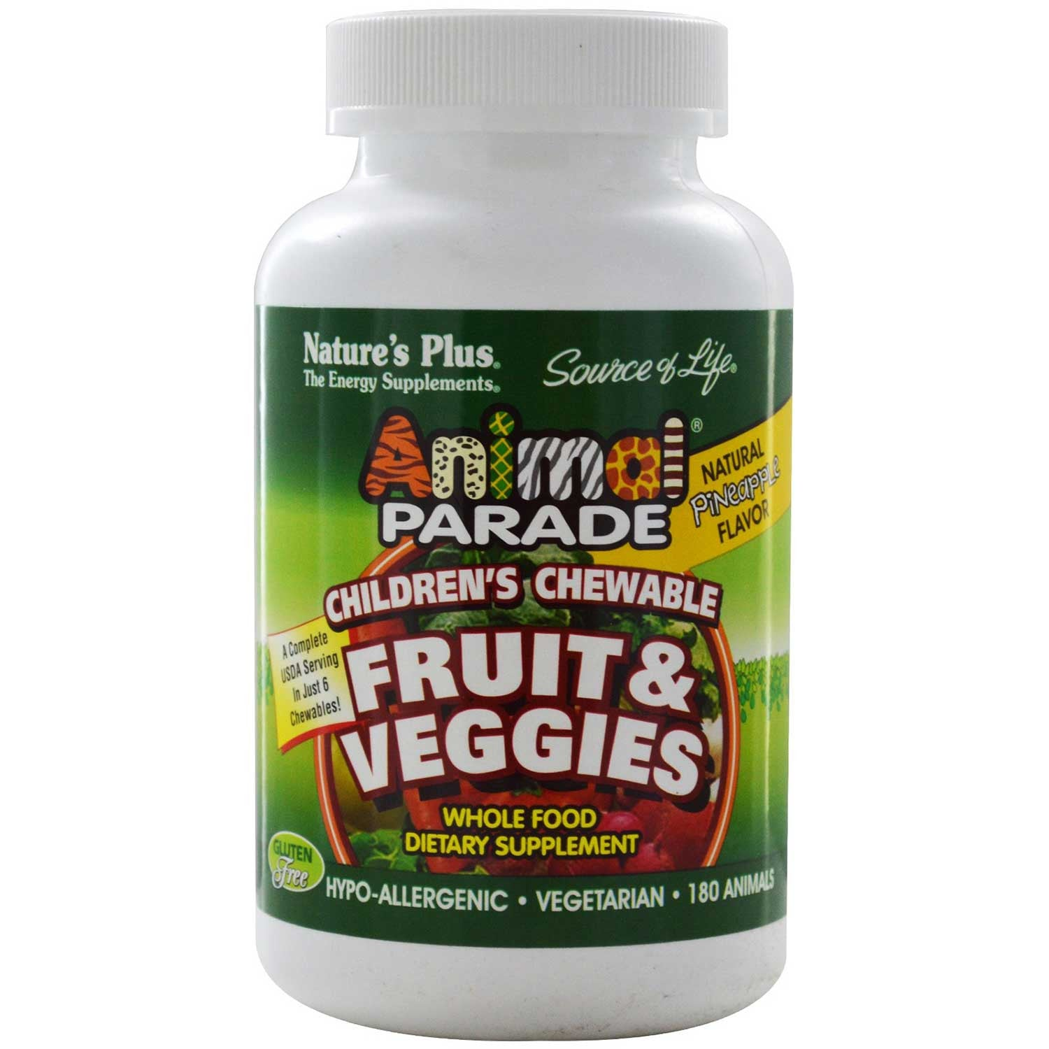 Natures Plus Source of Life Animal Parade Fruit & Veggies Chewable - Pineapple, 180 tabs.-NaturesWisdom