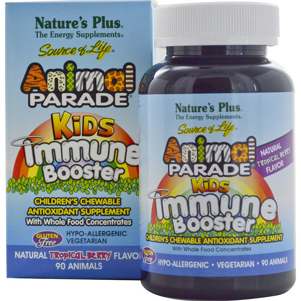 Natures Plus Source of Life Animal Parade Kids Immune Booster - Tropical Berry, 90 tabs.