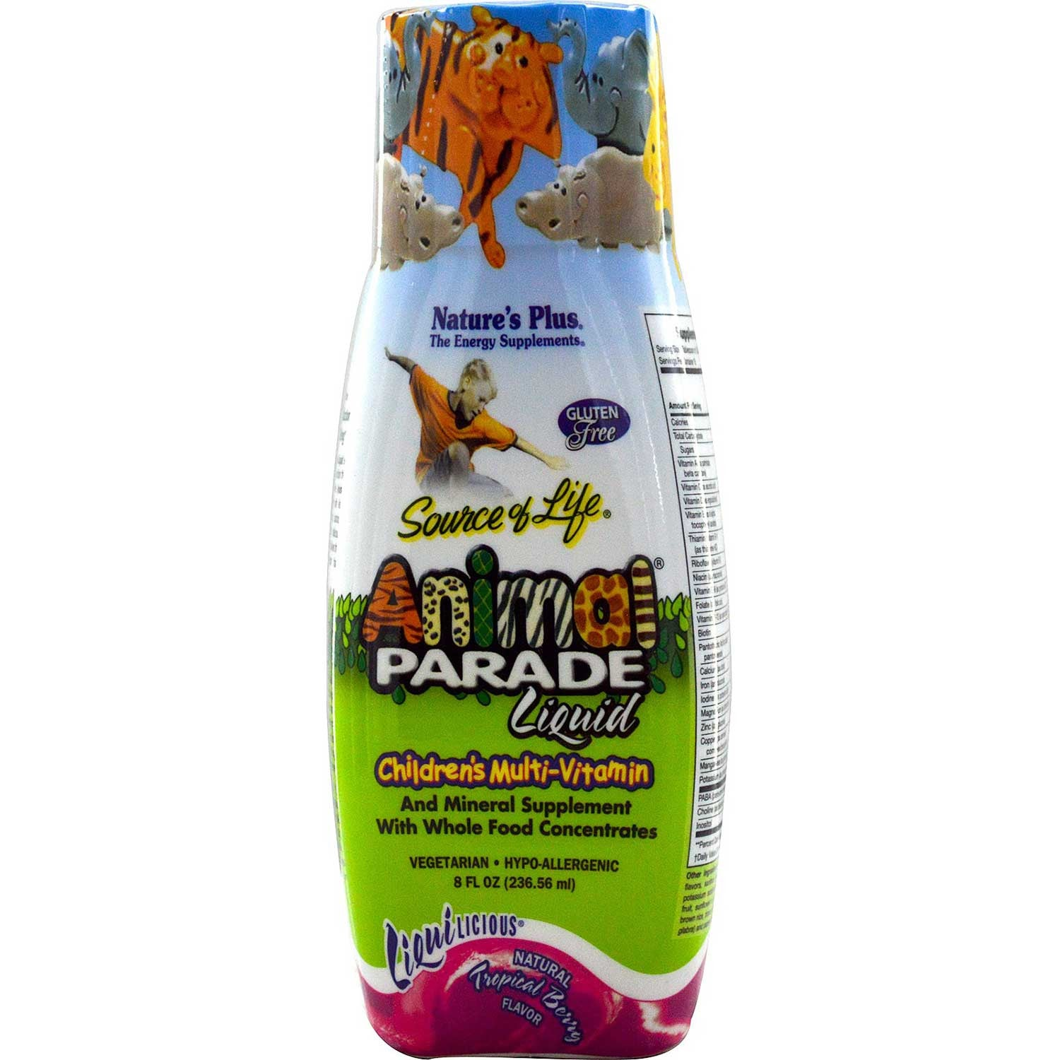 Natures Plus Source of Life Animal Parade Liquid - Tropical Berry (Travel Size), 236.56 ml-NaturesWisdom