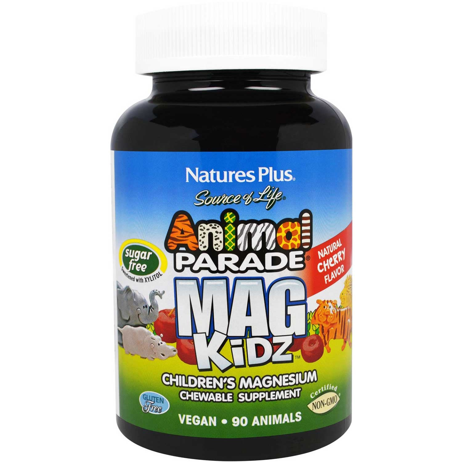 Natures Plus Source of Life Animal Parade Mag Kidz Chewable - Cherry (Sugar-Free), 90 tabs.-NaturesWisdom