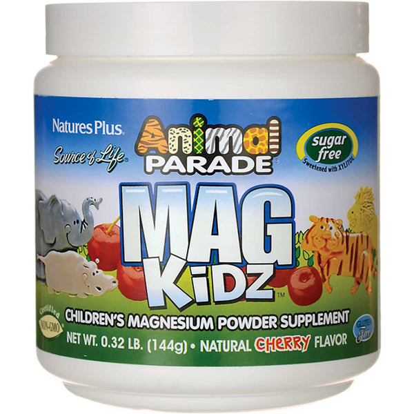 Natures Plus Source of Life Animal Parade Mag Kidz Powder - Cherry (Sugar-Free), 144 g.