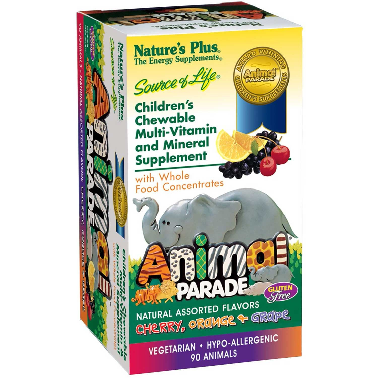 Natures Plus Source of Life Animal Parade Multi-Vitamin & Mineral (Assorted), 90 tabs.