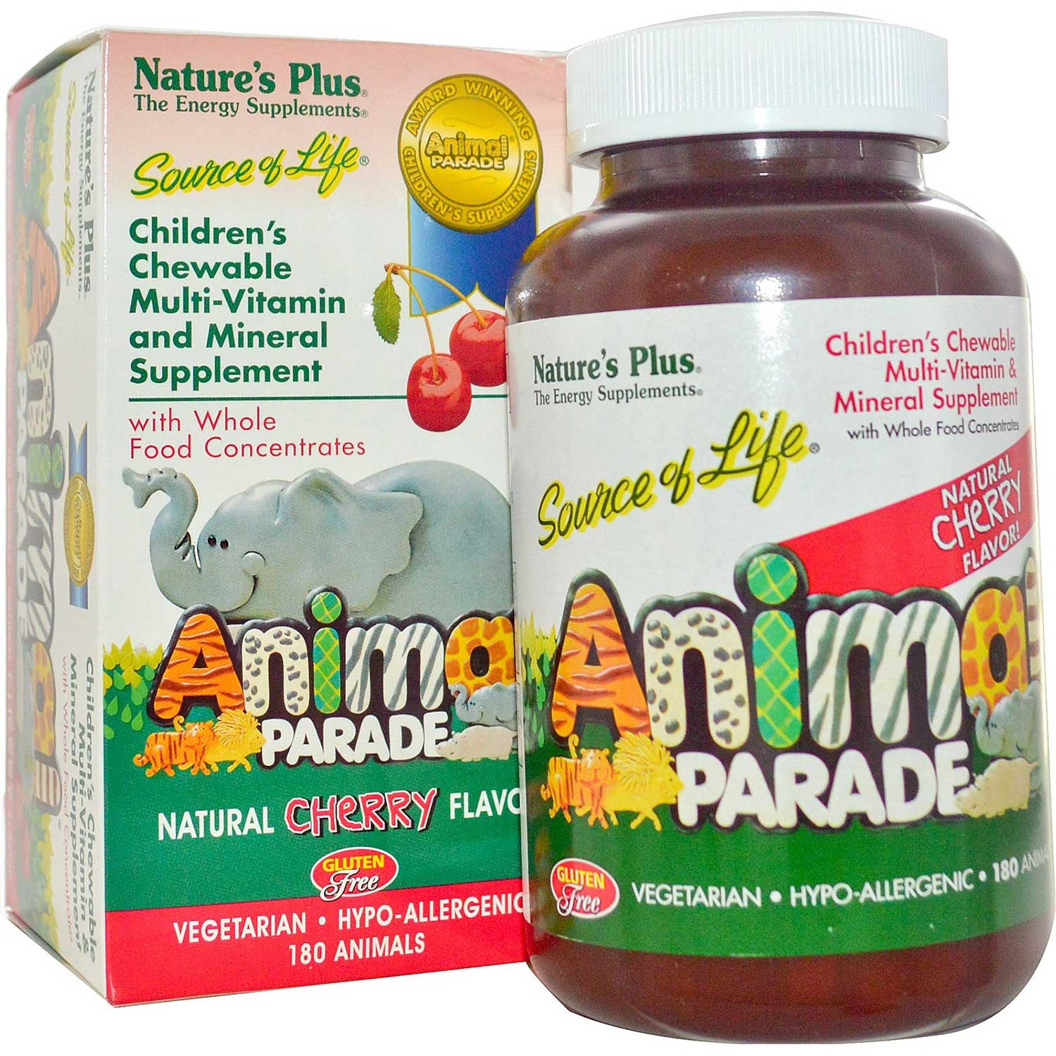Natures Plus Source of Life Animal Parade Multi-Vitamin & Mineral (Cherry), 180 tabs.-NaturesWisdom