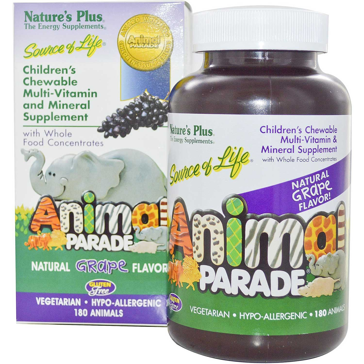 Natures Plus Source of Life Animal Parade Multi-Vitamin & Mineral (Grape), 180 tabs.-NaturesWisdom