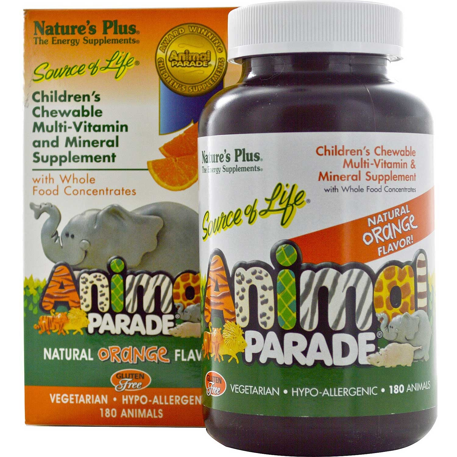 Natures Plus Source of Life Animal Parade Multi-Vitamin & Mineral (Orange), 180 tabs.