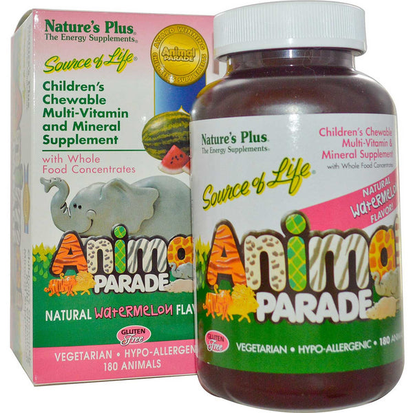 Natures Plus Source Of Life Animal Parade Chewable Multi-Vitamin & Mineral (Water Melon), 180 tabs