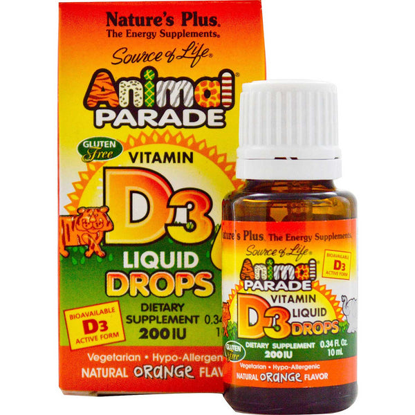Natures Plus Source of Life Animal Parade Vitamin D3 200 IU Liquid Drops (Orange), 10 ml.