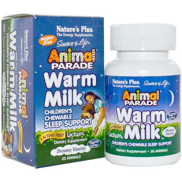 Natures Plus Source of Life Animal Parade Warm Milk Chewables - Dreamy Vanilla Flavor, 30 tabs.
