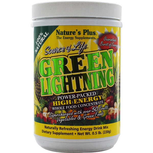 Natures Plus Source of Life Green Lightning - Energy Drink Powder, 230 g