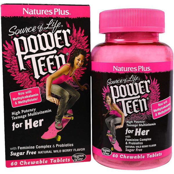 Natures Plus Source of Life Power Teen for Her Chewable Multi - Wild Berry, 60 tabs.