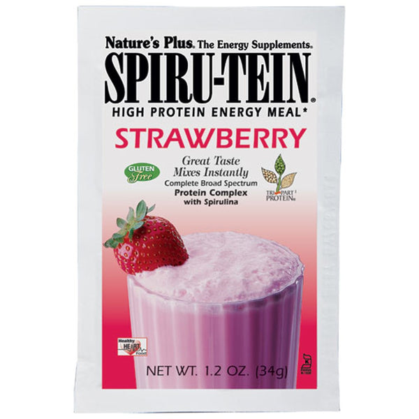 Natures Plus Spiru-Tein Shake - Strawberry, Single Serving Packet, 34 g