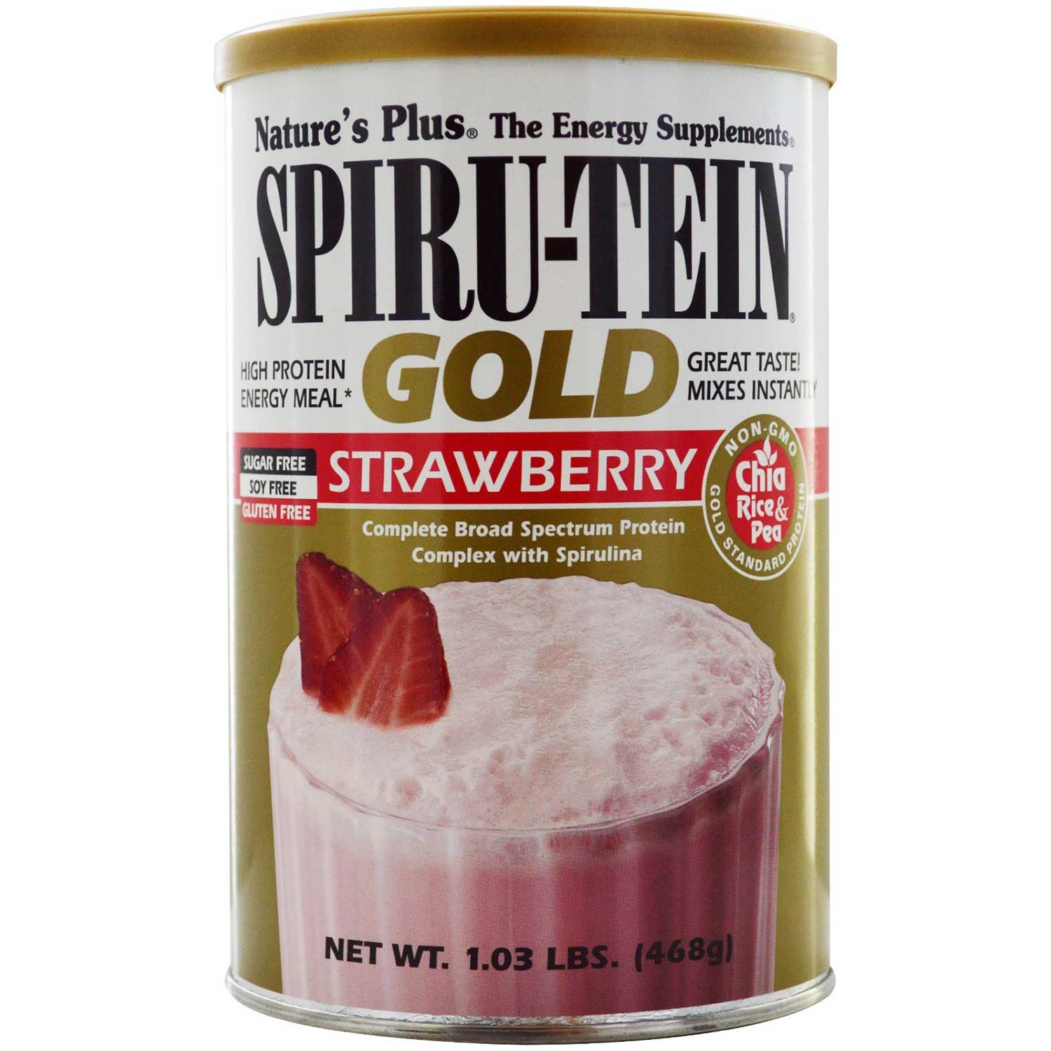 Natures Plus Spiru-tein Gold Shake - Strawberry, 468 g-NaturesWisdom