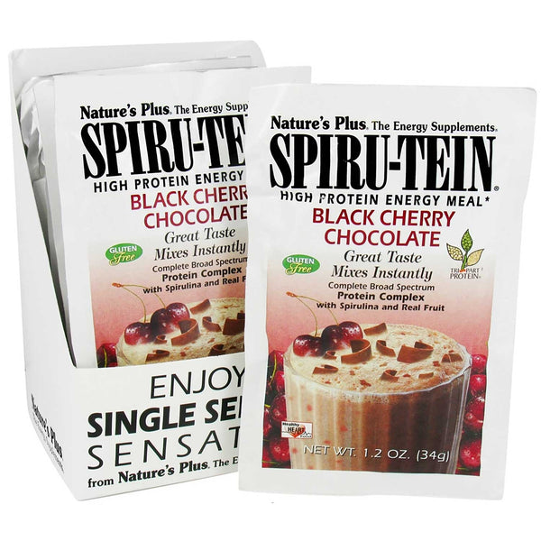 Natures Plus Spiru-tein Shake - Black Cherry Chocolate, Single Serving Packet, 34 g