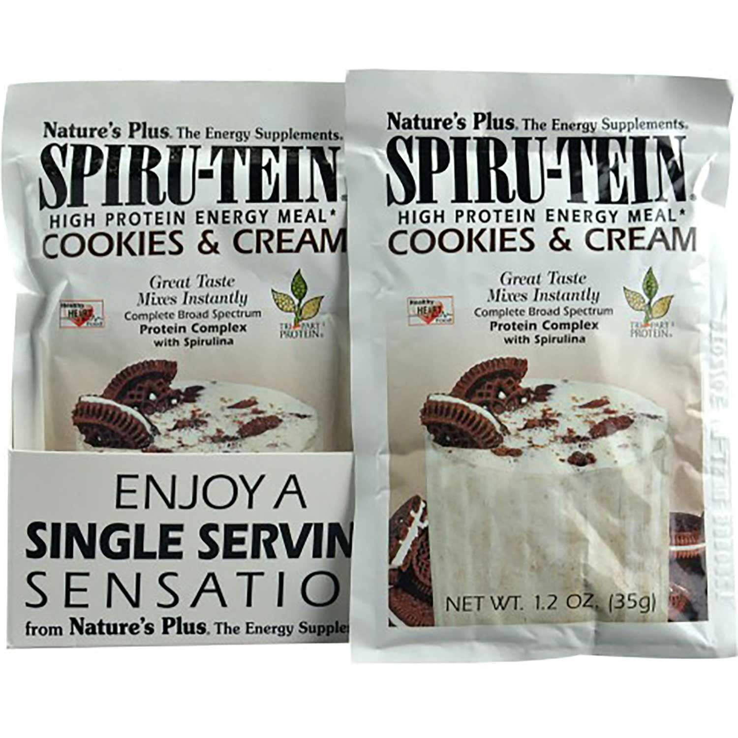Natures Plus Spiru-tein Shake - Cookies & Cream, Single Serving Packet, 35 g-NaturesWisdom