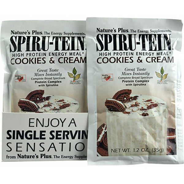 Natures Plus Spiru-tein Shake - Cookies & Cream, Single Serving Packet, 35 g