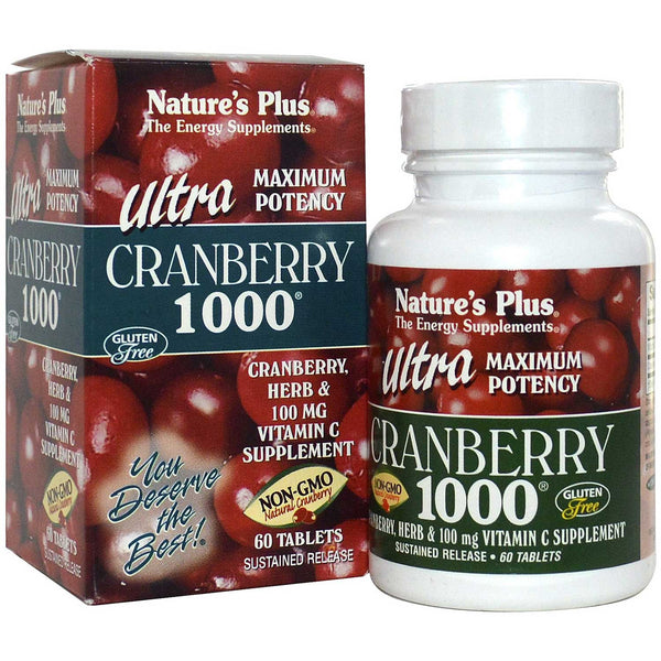 Natures Plus Ultra Cranberry 1000 S/R w/Vit C & Herbs, 60 tabs.