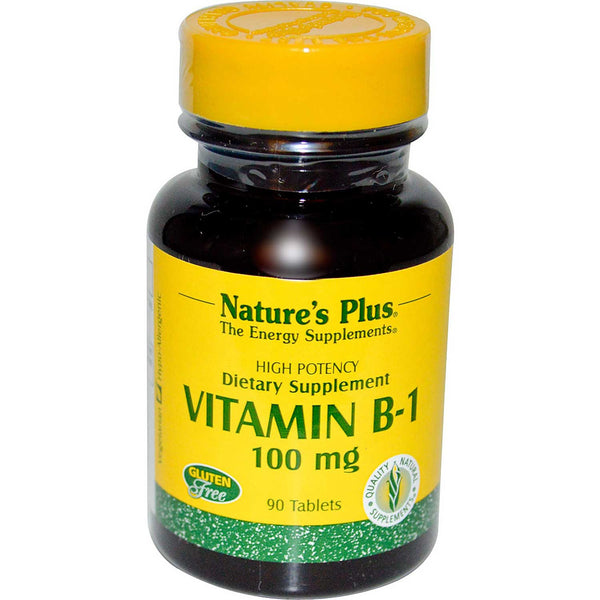 Natures Plus Vitamin B-1 100 mg, 90 tabs.