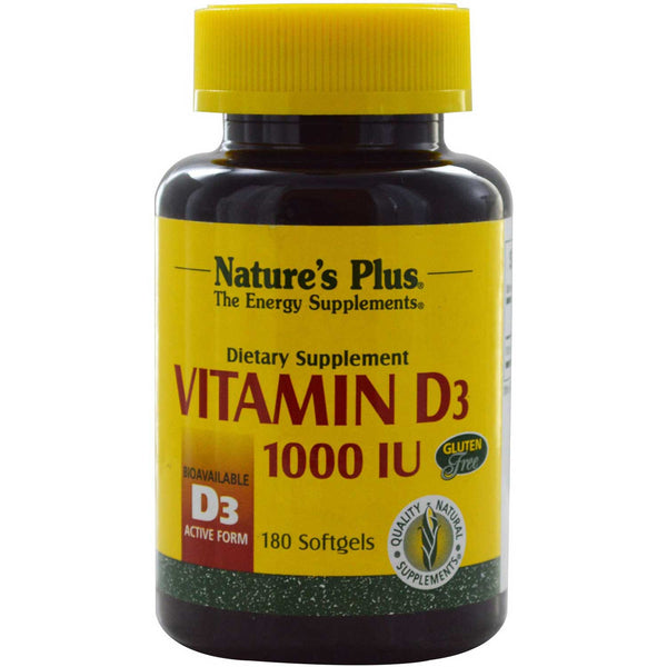Natures Plus Vitamin D 1000 IU (D3, Cholecalciferol), 180 sgls.