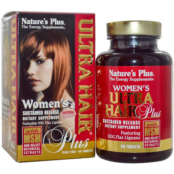 Natures Plus Women's Ultra Hair Plus S/R w/MSM & SDG Flax Lignans, 60 tabs.