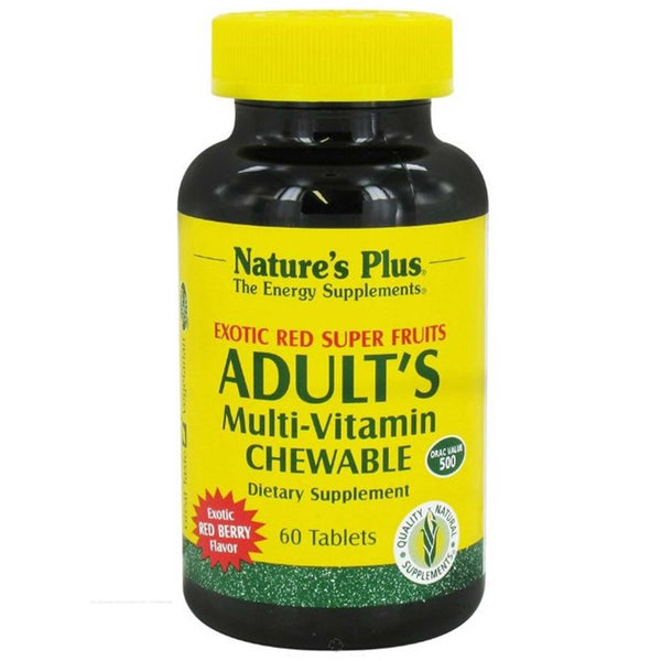 Natures Plus Adult's Multi-Vitamin Chewable - Exotic Red Super Fruits, 60 tabs.