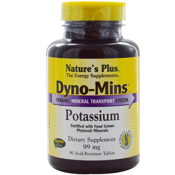Natures Plus Dyno-Mins Potassium 99 mg, 90 tabs.