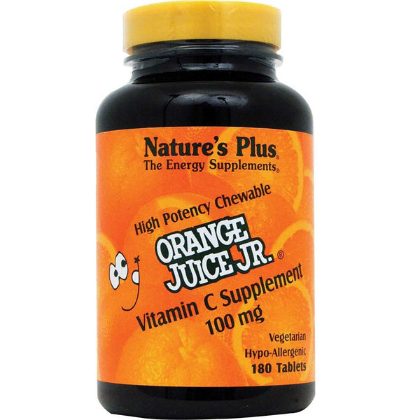 Natures Plus Orange Juice Jr. Vitamin C 100 mg, 180 tabs.
