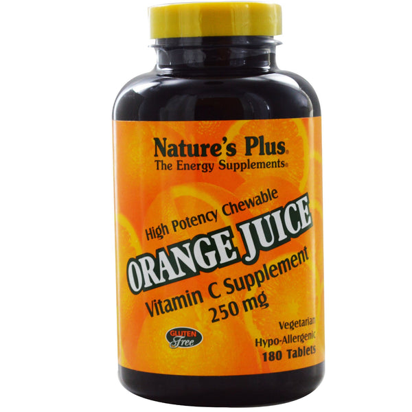 Natures Plus Orange Juice Vitamin C 250 mg Chewable, 90 tabs.