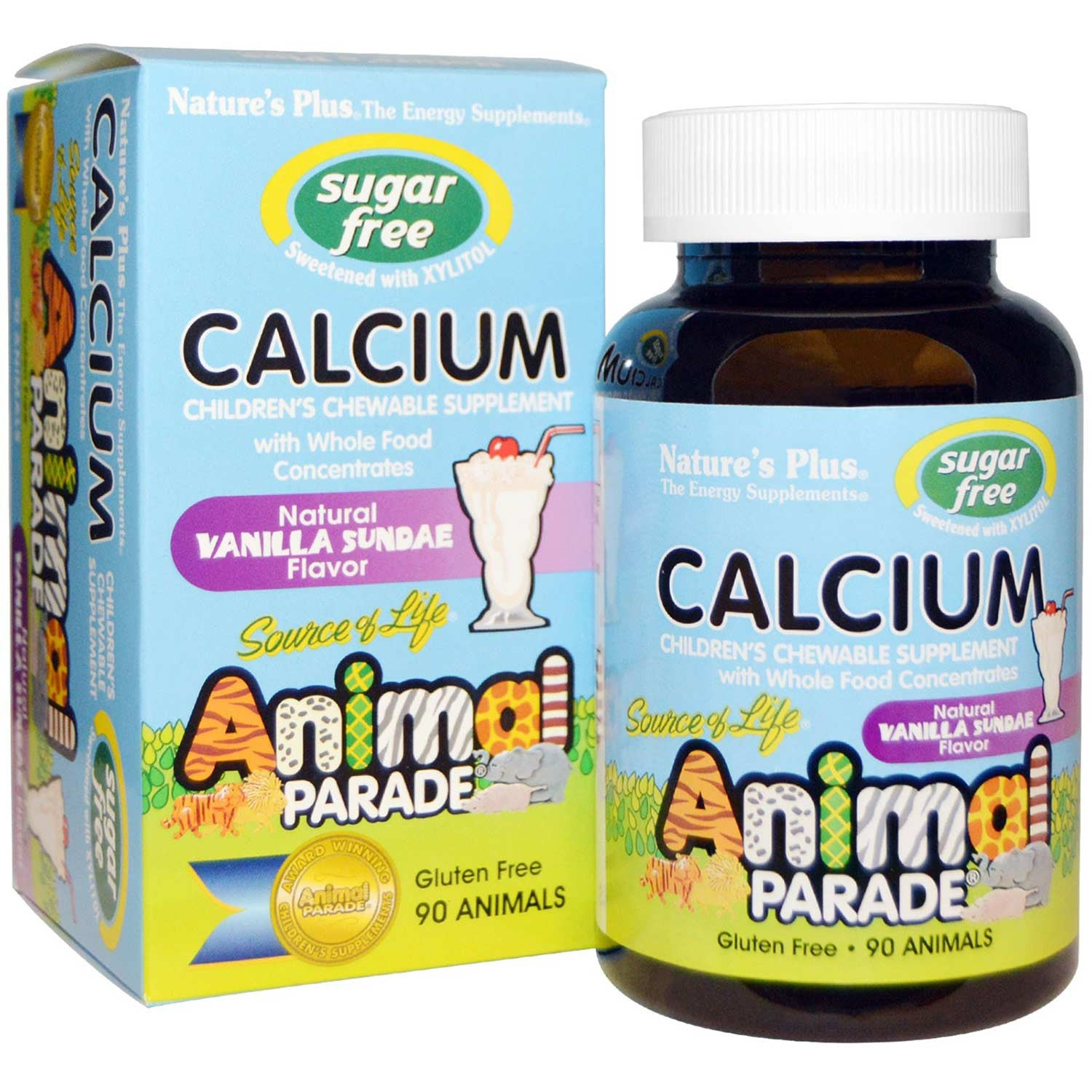 Natures Plus Source of Life Animal Parade Calcium - Vanilla Sundae (Sugar-Free), 90 tabs.-NaturesWisdom