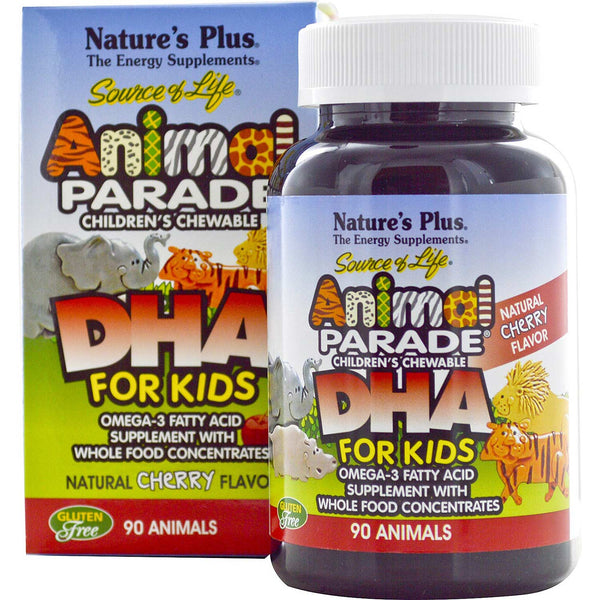 Natures Plus Source of Life Animal Parade Chewable DHA For Kids - Cherry, 90 tabs.