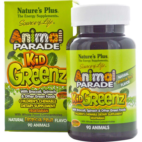 Natures Plus Source of Life Animal Parade KidGreenz Chewable - Tropical Fruit, 90 tabs.