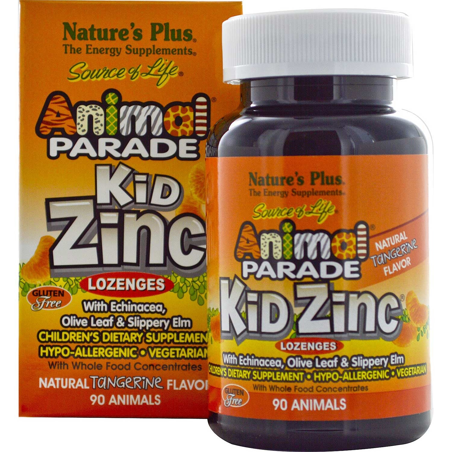 Natures Plus Source of Life Animal Parade KidZinc Chewable - Tangerine, 90 tabs.-NaturesWisdom