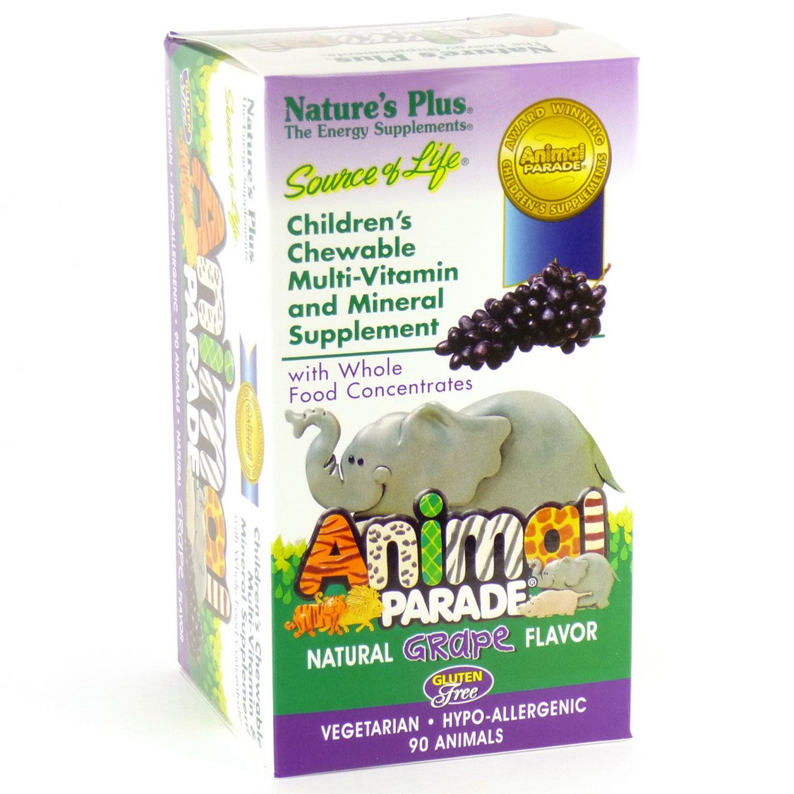 Natures Plus Source of Life Animal Parade Multi-Vitamin & Mineral (Grape), 90 tabs.