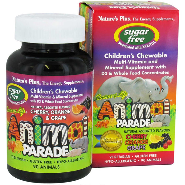 Natures Plus Source of Life Animal Parade Multi-Vitamin & Mineral - Assorted (Sugar-Free), 90 tabs.