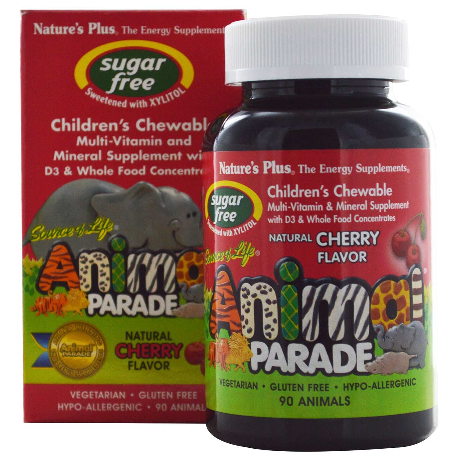 Natures Plus Source of Life Animal Parade Multi-Vitamin & Mineral - Cherry (Sugar-Free), 90 tabs.-NaturesWisdom